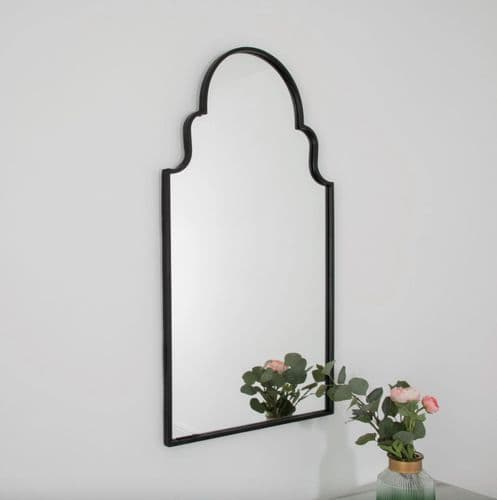MODERN ROMAN STYLE BLACK METAL WALL HANGING ARCHED MIRROR 90cm